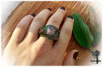 polymer clay \ Ring \ nature \ tree \ amethyst