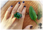 polymer clay \ Ring \ succulent \ Labrador \ amber