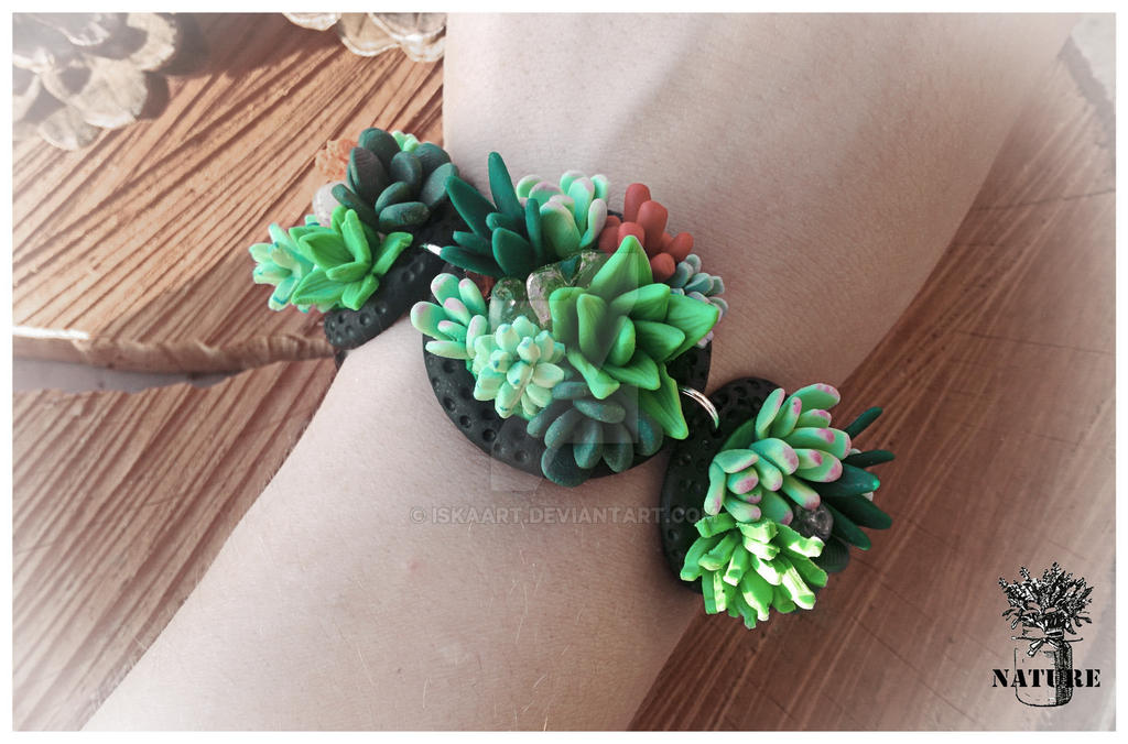 Bracelet \ polymer clay \ nature \ succulents