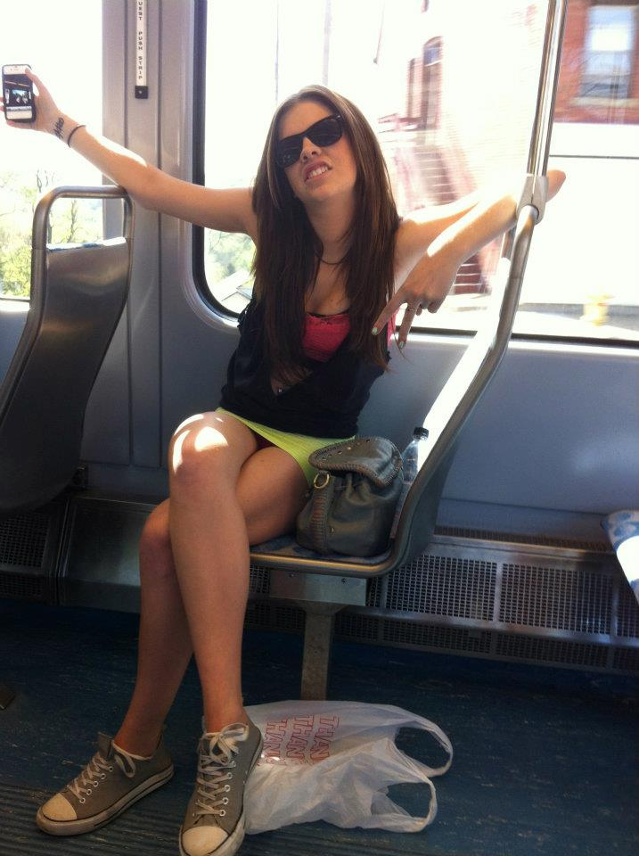 Upskirt in a bus