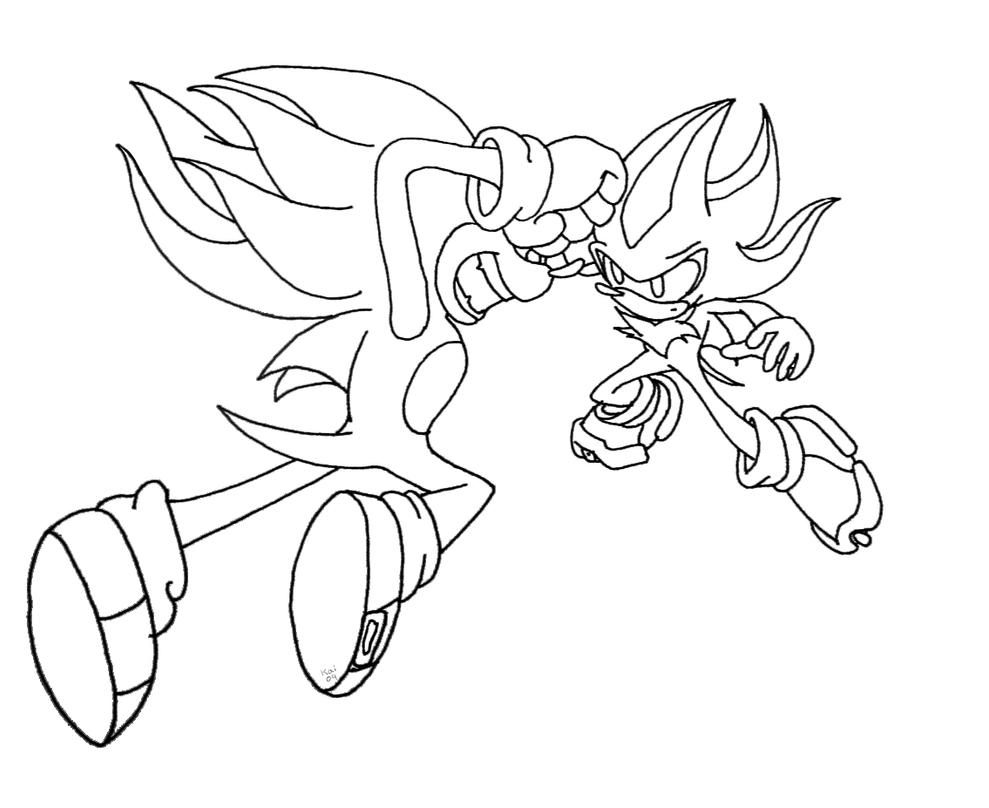 Sonic Vs Shadow Lineart By Kaithephaux On Deviantart Shadow Sonic Coloring Pages