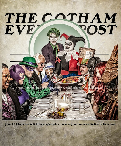 Gotham Evening Post - Bat Villains Dinner by Lady-Ha-ha