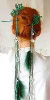 Elven Green Ornament Hairpins