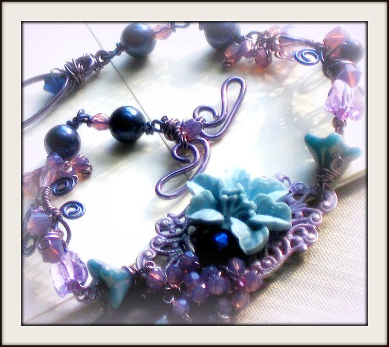 Icy Violet Vintage Bracelet by JuleeMClark