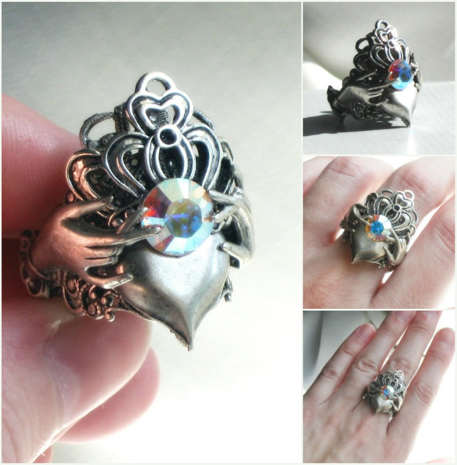 Claddagh Ring With Balanced Scale Inscribed Inside