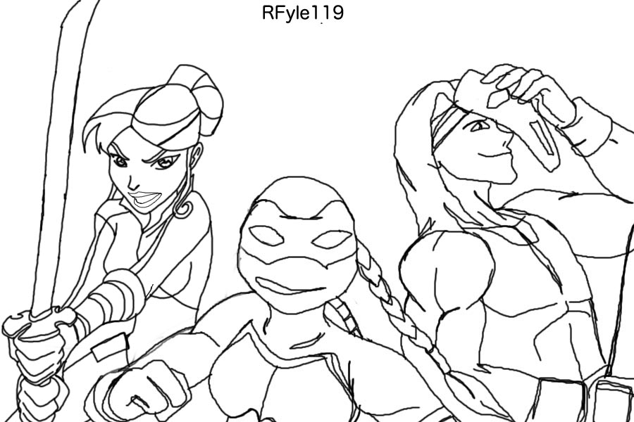 Tmnt 2003 coloring pages ~ April O'Neil Venus and Casey by RFyle119 on deviantART