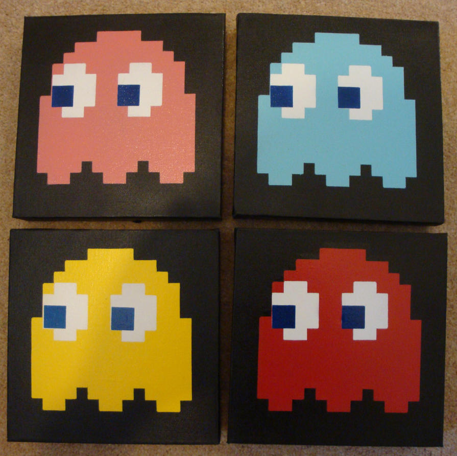 Pacman Stencil on Canvas by RAMART79