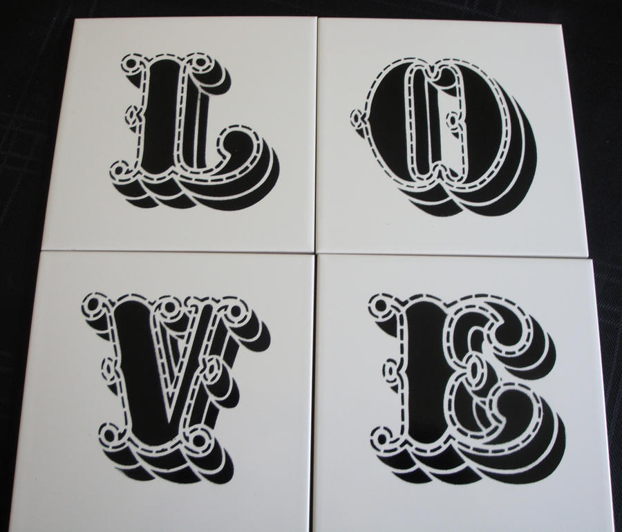 Love - Spraypaint Stencil Tile by RAMART79
