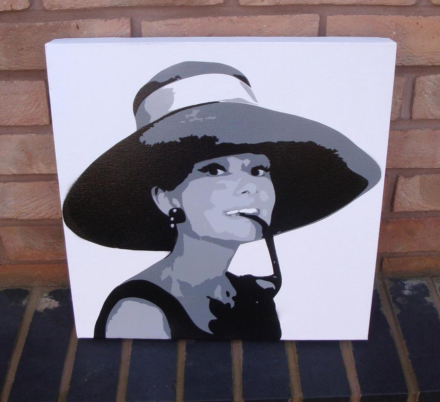 audrey hepburn spraypaint stencil on canvas by ramart79. Black Bedroom Furniture Sets. Home Design Ideas