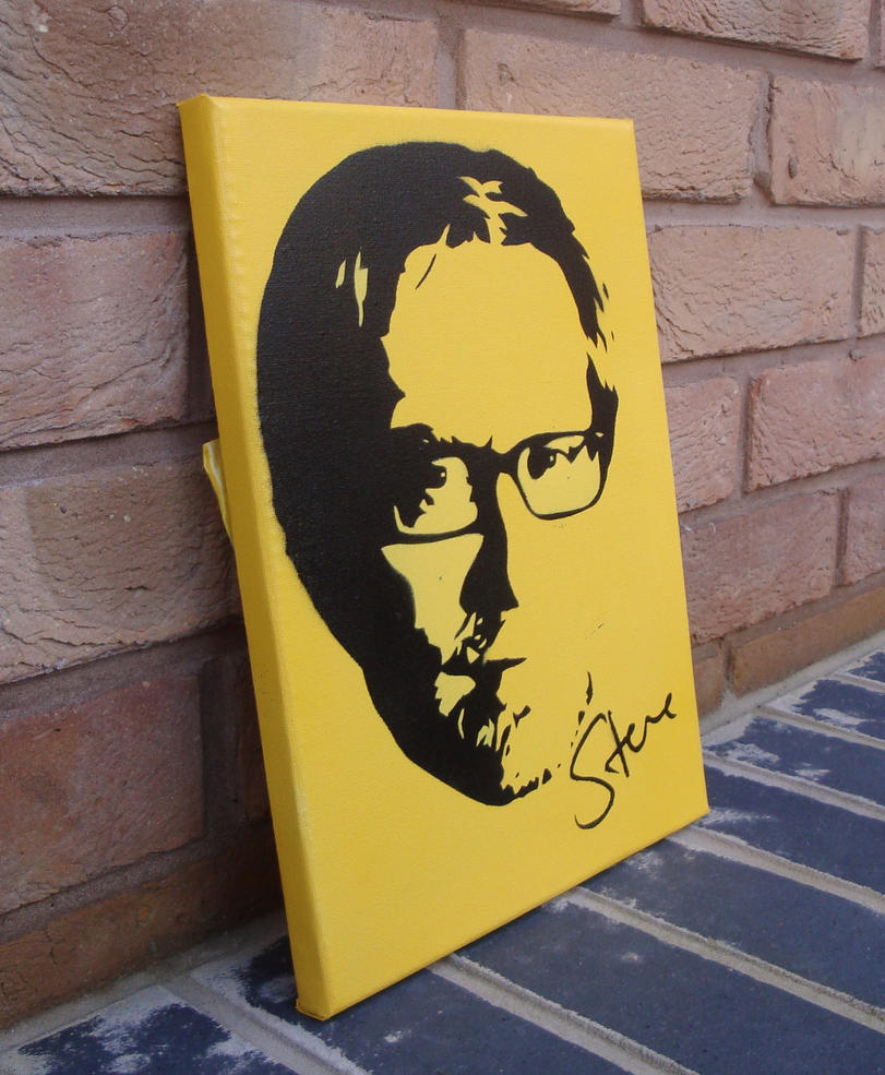 Stephen Merchant Stencil Spray Paint On Canvas By
