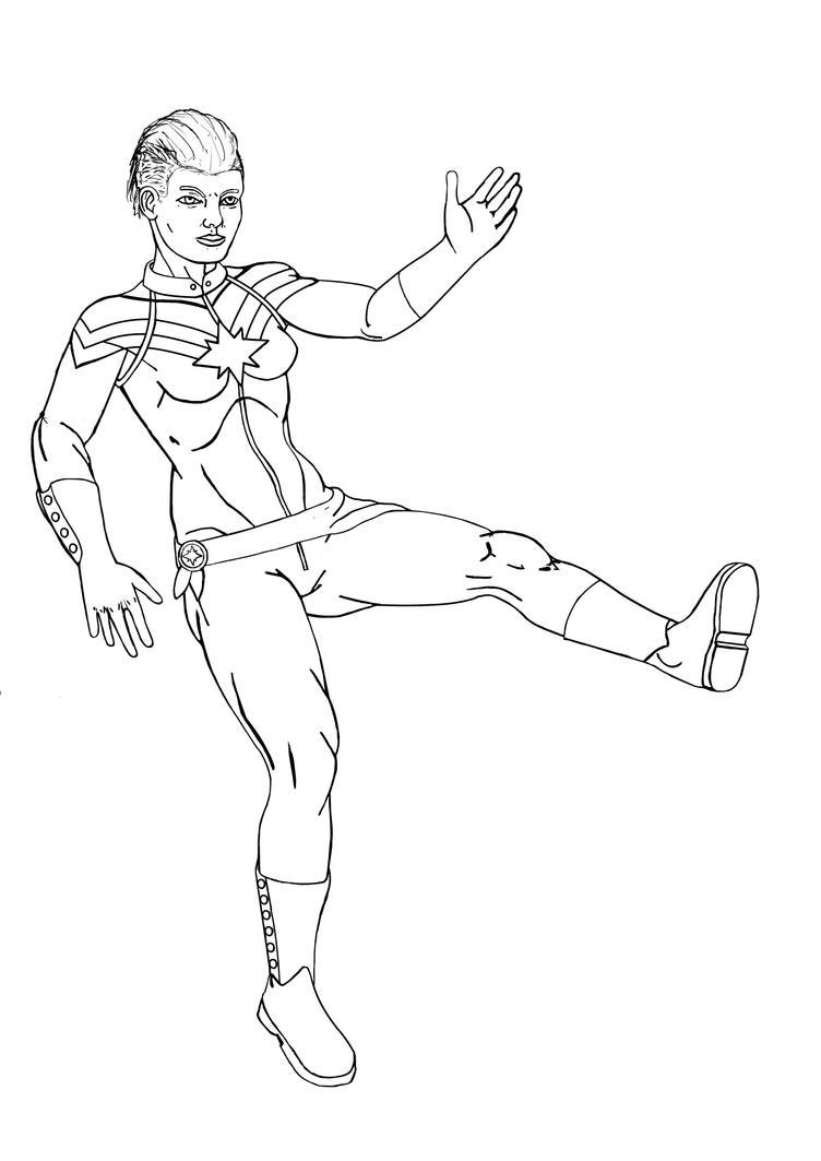 Captain Marvel - Line Art by Tuulikk