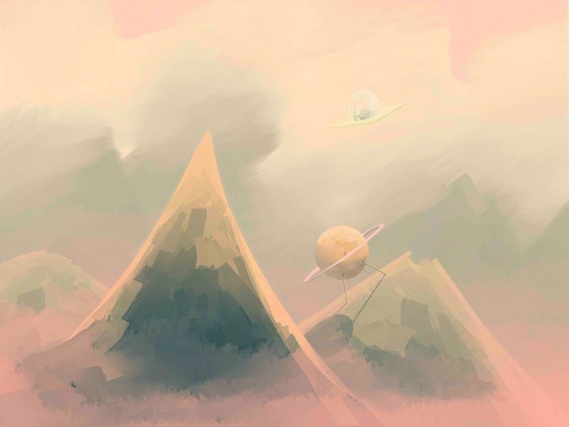 Peachy mountains by Argodeon