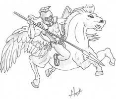 A gladiator rides a pegasus by saurabhkhirwal