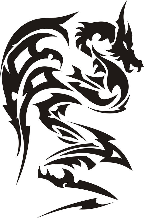 Simple Tattoo Designs To Draw For Men   Free download on ...  Tribal Art Dragon Simple