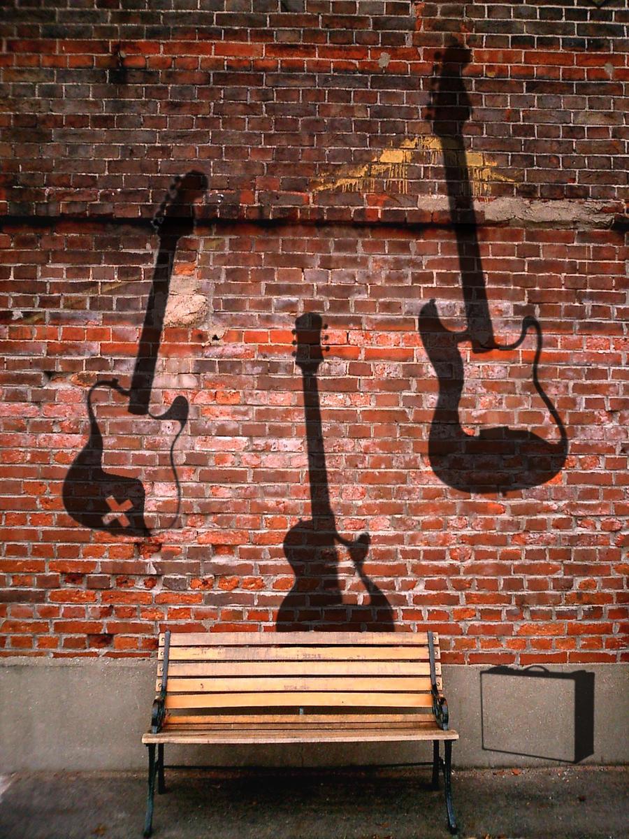 Wall Art The Brick : The brick wall and guitars by benjaminking on deviantart