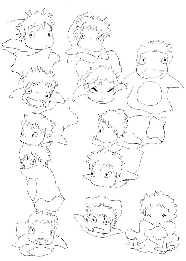 Ponyo fish drawing images galleries for Ponyo coloring pages