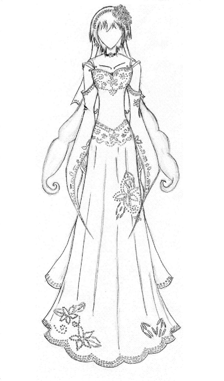 Wedding dress by akariyuu on deviantart for Dress coloring pages