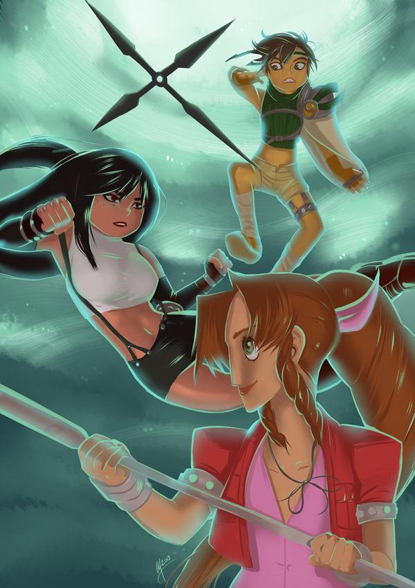 FFVII: Girls Trio Print by peannlui