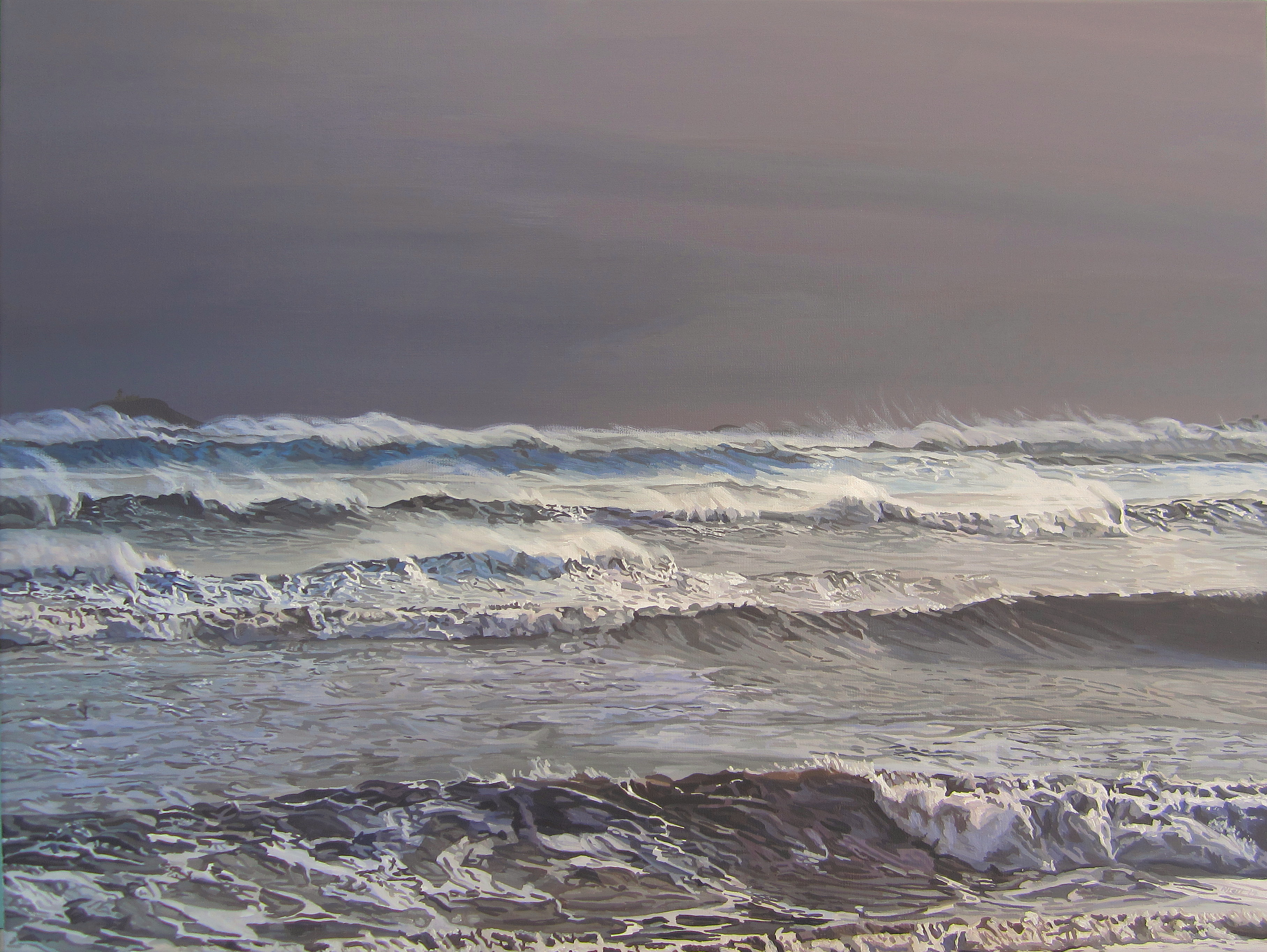 Storm Darwin Over Ballycotton Bay From Garryvoe by eastcorkpainter