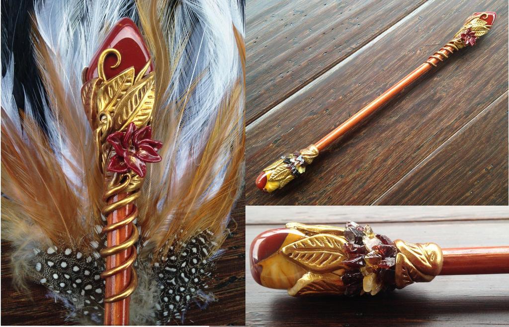 Mookaite Citrine Garnet Wand by KaijuClayCreations