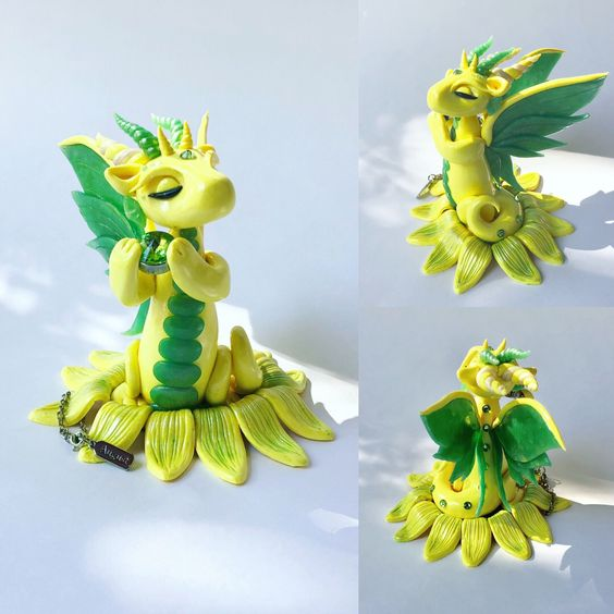 August Birthstone Peridot Clay Dragon