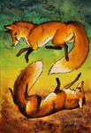 [AT] Fox Dance .double ACEO.