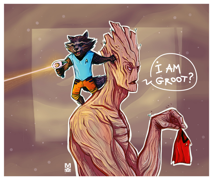 Rocket and Groot in the Starfleet by MekareMadness