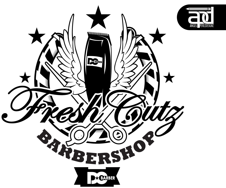 Fresh Cutz Barbershop Logo B n W by Shaddo-angel on DeviantArt