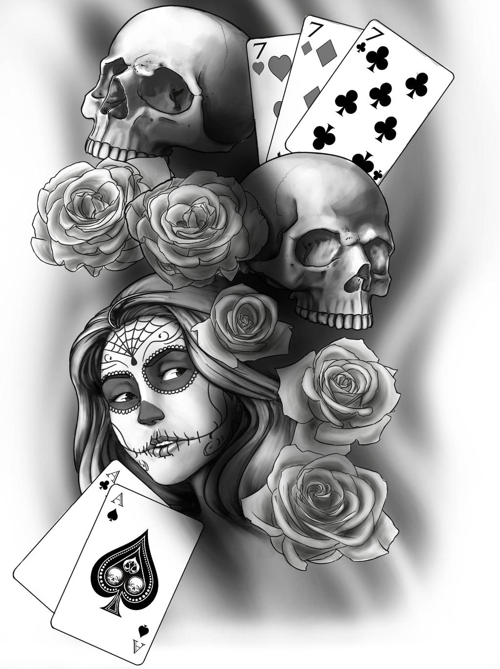 day of the dead tattoo collaboration by amaxj on deviantart. Black Bedroom Furniture Sets. Home Design Ideas