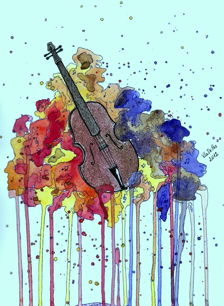 Watercolor Violin By VlaDePas