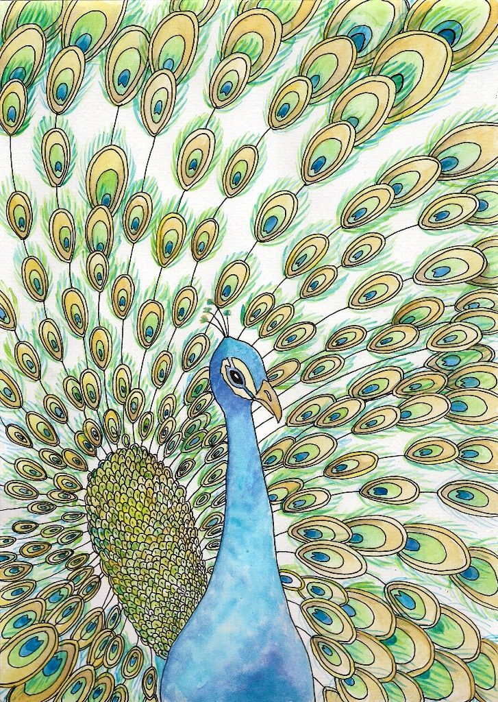 Original Watercolour Peacock Painting by VlaDePas on ...