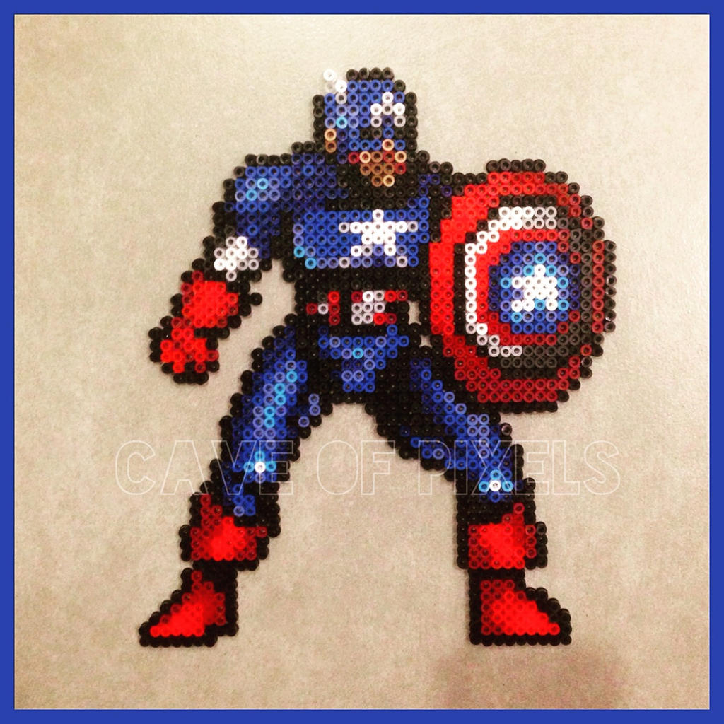 Captain America Perler Bead Sprite By Caveofpixels On Deviantart