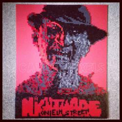 A Nightmare on Elm Street Perler bead portrait by caveofpixels