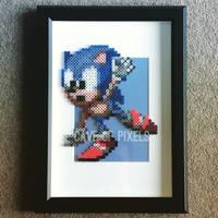 Sonic balancing pixel bead sprite