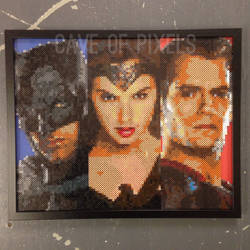 Batman V Superman pixel bead portraits