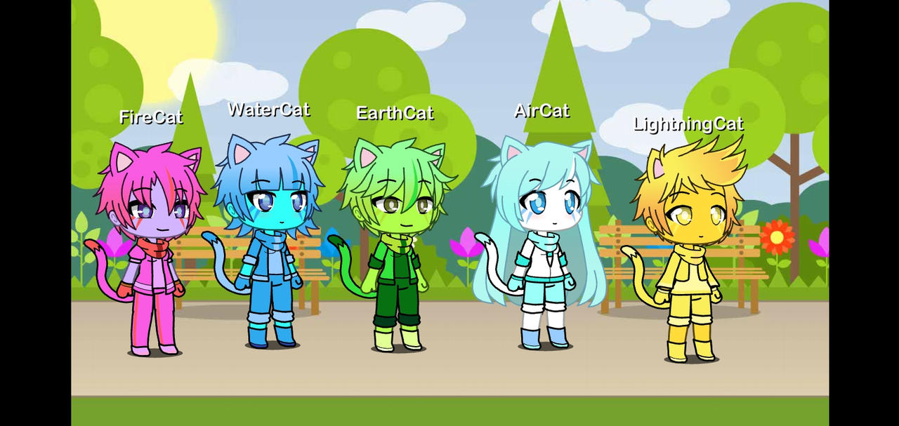 All 5 Elemental Cats in Gacha Life version
