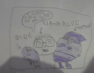 Cianablue hugging the color blue n Neptune (mixel)