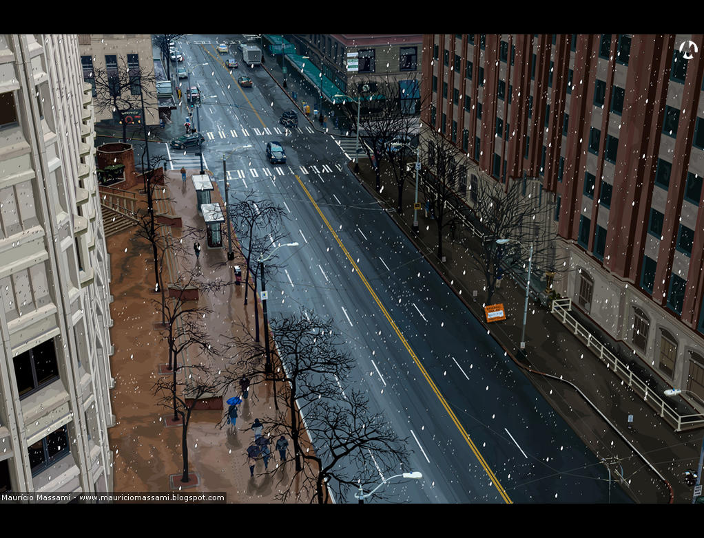 Snowstorm in the City by MauricioMassami
