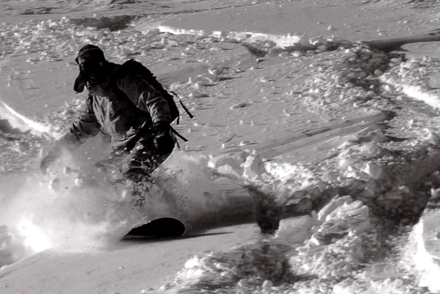 Snowboard black and white by keithajb