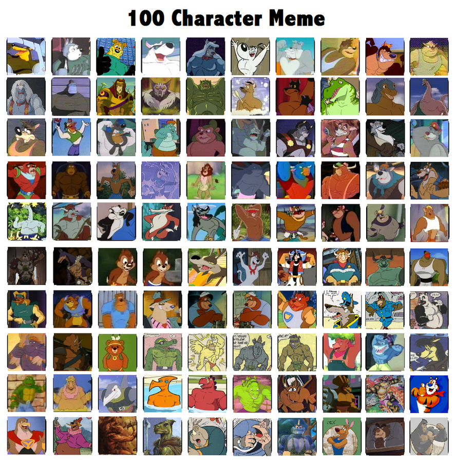 Cartoon Characters 2 100 Pics : Character meme very rough by toontorment on deviantart
