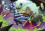 Cyborg Ninja vs Lich Commission by adhytcadelic