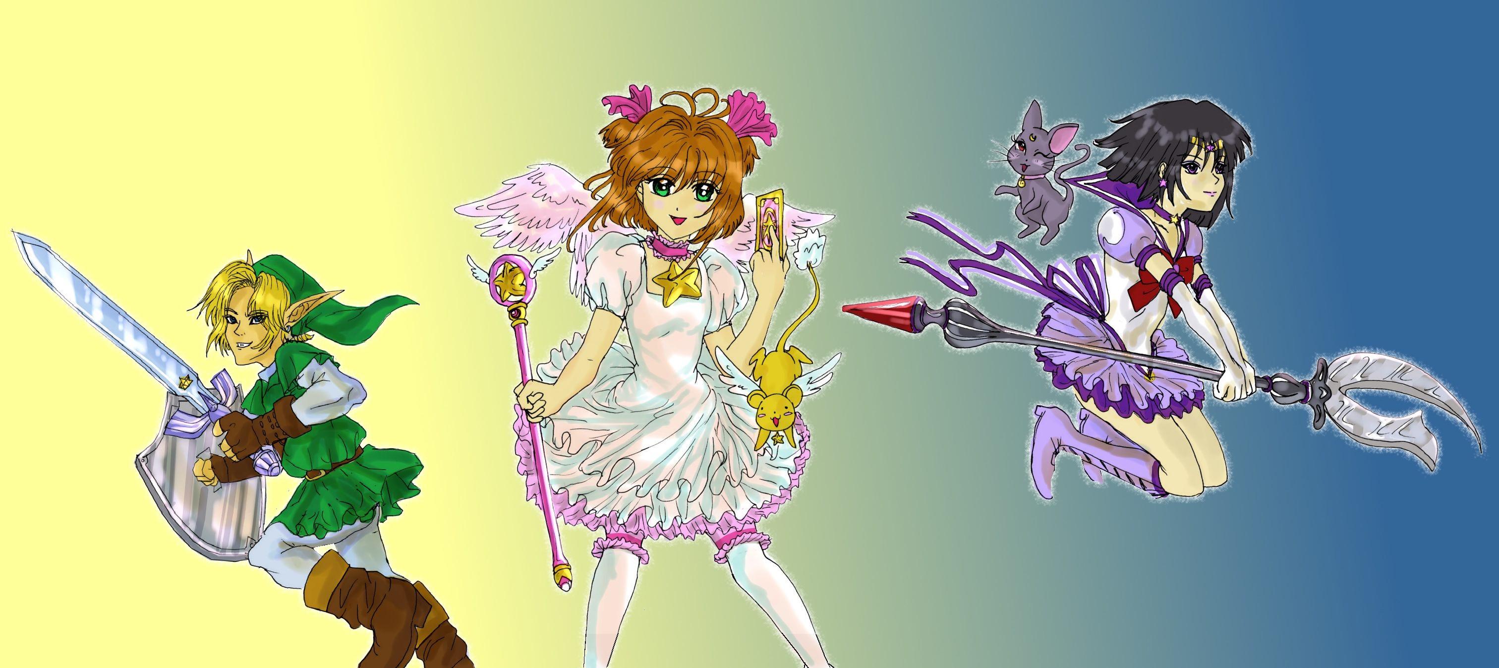 Link, Sakura, Sailor Saturn by straywillowisp