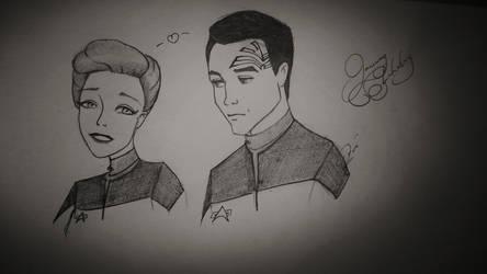 Janeway and Chakotay sketch