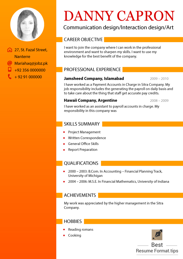 The Best Resume Format | Resume Format And Resume Maker