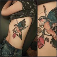 Bird by Santi Bord , Think Tattoo Parlour