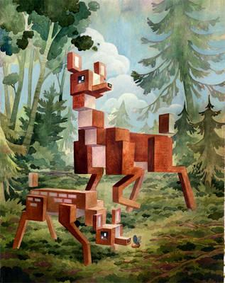 'Menagerie' Series: Deer by Biffno