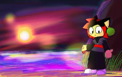 Vaperwave Shadowtails cosplaying Goku Black