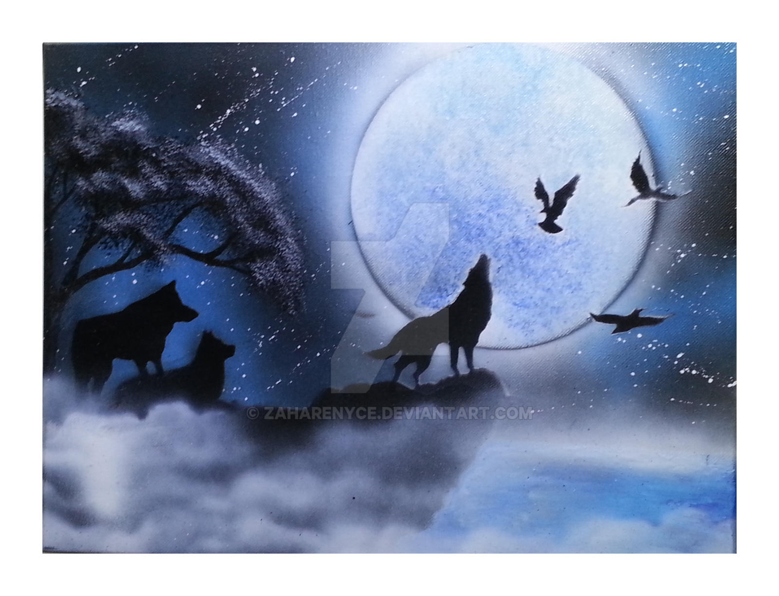 Howling wolf spray paint painting by zaharenyce on deviantart for How to spray paint art on canvas