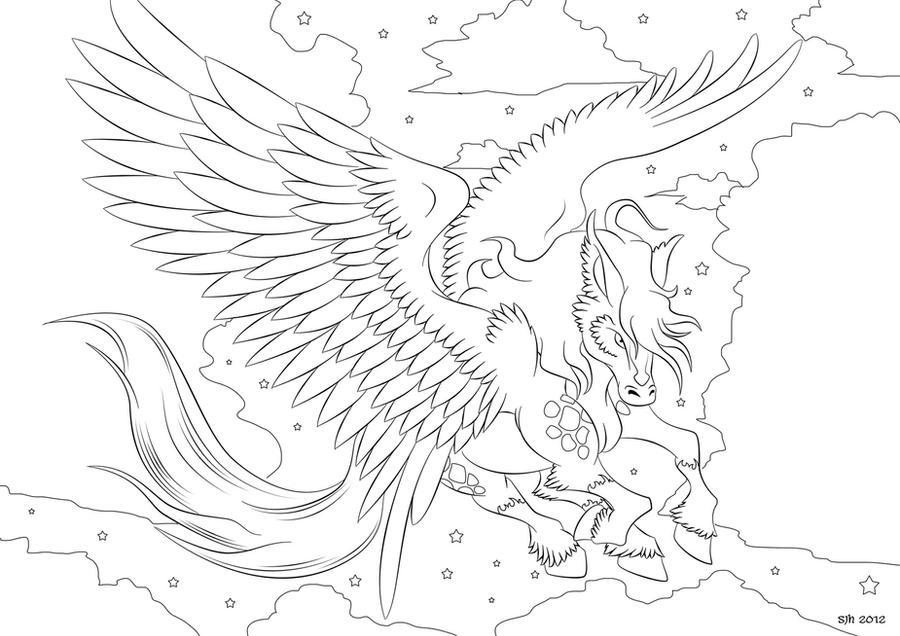 pegasus coloring in page 4darklyshadedshadow on