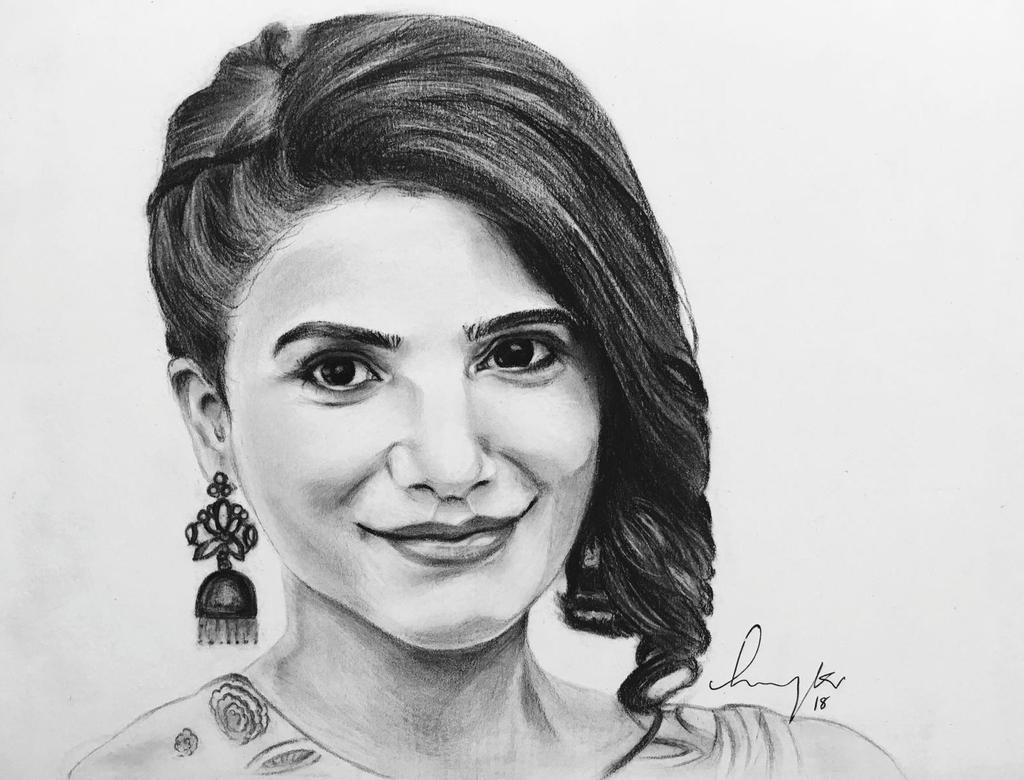 Samantha ruth prabhu portrait sketch chaysam by lavanyakv on